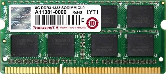 2293658680 Transcend JetRam 8GB 1333MHz DDR3 CL9 SODIMM od 2 356 Kč