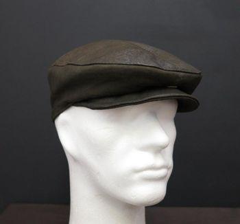Pánská kožená čepice s kšiltem olivově… 8dae626211